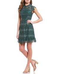 As U Wish - Mock Neck Scalloped Lace Dress - Lyst