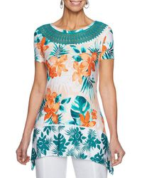 Ruby Rd. - Short Sleeve Hibiscus Shadow Border Print Knit Top - Lyst