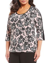 Jones New York - Plus Size Floral Print Contrast Binding Top - Lyst