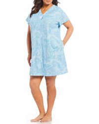 Miss Elaine - Plus Paisley-print Interlock Knit Grip-front Short Robe - Lyst