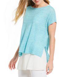 Eileen Fisher - Bateau Neck Short Sleeve Poncho Top - Lyst