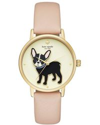 Kate Spade - Grand Metro French Bulldog Vachetta Leather-strap Watch - Lyst
