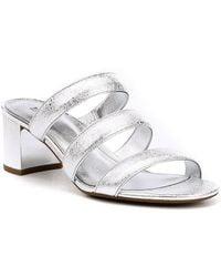 MICHAEL Michael Kors - Paloma Flex Metallic Leather Block Heel Mule Sandals - Lyst