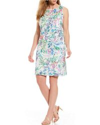 Tahari - Plus Size Sleeveless Soutache Embroidered Shift Dress - Lyst