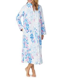 Carole Hochman Watercolor Floral-print Quilted Long Zip-front Robe - Blue