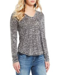 William Rast - Cooper Cheetah Faux Henley Knit Top - Lyst
