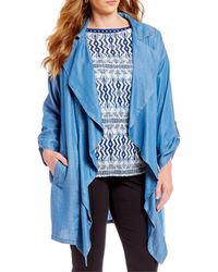 Ruby Rd. - Plus Size Notch Collar Open Front Heavy Jacket - Lyst