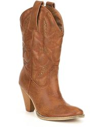 Volatile - Nightbloom Embroidered And Studded Western Block Heel Boots - Lyst