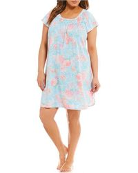 Miss Elaine | Plus Cottonessa Filagree-printed Nightgown | Lyst
