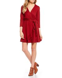 As U Wish - Faux-wrap Ruffle Skirt Fit-and-flare Dress - Lyst