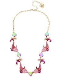 """Betsey Johnson - Two-tone Crystal Fish Collar Necklace, 16"""" + 3"""" Extender - Lyst"""