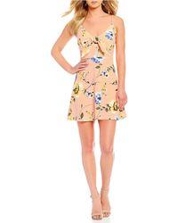 Blu Pepper - Floral Tie Front Knit Mini Dress - Lyst