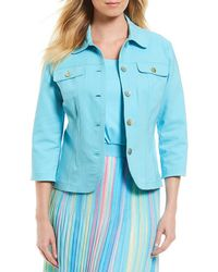 Ruby Rd | 3/4 Sleeve Button Front Double Face Stretch Solid Jacket | Lyst
