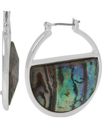Kenneth Cole Abalone Stone Inlay Hoop Earrings