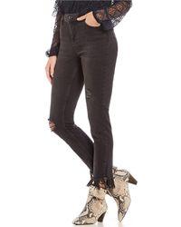 Free People - Great Heights Fringe Frayed Hem Skinny Jeans - Lyst