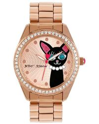 Betsey Johnson | Cat Crystal Bezel Analog Bracelet Watch | Lyst