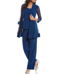 R & M Richards R & M Petite Size Mesh-inset Mock 3-piece Pant Set