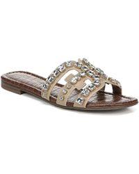 1db65715a55e Sam Edelman - Bay 8 Leather Rhinestone Embellished Sandals - Lyst