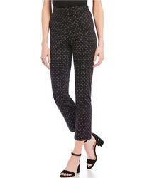 Jones New York - Grace Stretch Cotton Sateen Dot Print Ankle Pants - Lyst
