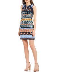 Laundry by Shelli Segal - Embroidered Shift Dress - Lyst
