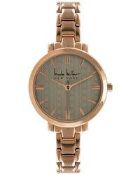 Nicole Miller - Logo Ribbon Motif Dial Rose Goldtone Bracelet Watch - Lyst