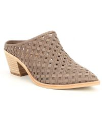 Dolce Vita - Sayer Perforated Woven Leather Block Heel Mules - Lyst