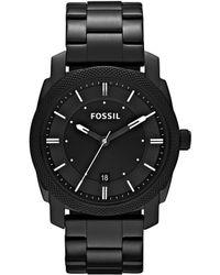 Fossil - Machine Black 3 Hand Stainless Steel Bracelet Watch - Lyst