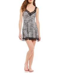 Betsey Johnson - Leopard Knit & Lace Chemise - Lyst