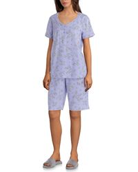 Karen Neuburger - Printed Jersey Knit Bermuda Pyjama Set - Lyst