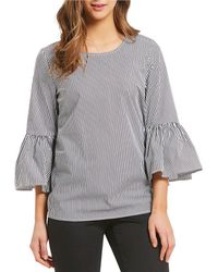 CALVIN KLEIN 205W39NYC - Even Stripe Ruffle Bell Sleeve Novelty Shirting Top - Lyst