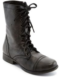 Steve Madden - Troopa Military-inspired Zipper Lace Up Leather Combat Boots - Lyst