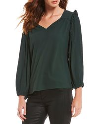 Skies Are Blue - Ruffle Statement Shoulder Pleated Balloon Sleeve Blouse - Lyst