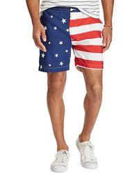 """Polo Ralph Lauren - Prepster American Flag 6"""" Swim Trunks - Lyst"""