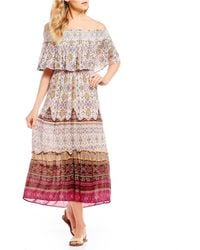 Patrons Of Peace - Off The Shoulder Printed Popover Maxi Dress - Lyst