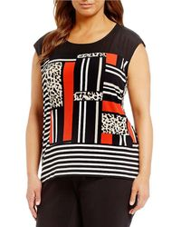 CALVIN KLEIN 205W39NYC - Plus Printed Extended Shoulder Top - Lyst