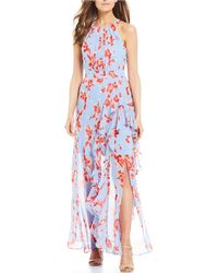 a0d1f60301 Eliza J Floral Print Ruffle Front Maxi Dress in Yellow - Lyst