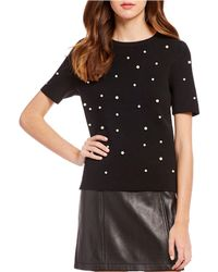 Gianni Bini - Lea Pearl Short Sleeve Sweater - Lyst