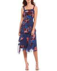 Nicole Miller - Floral Print Bouquet Asymmetrical A-line Midi Dress - Lyst