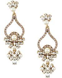Belle By Badgley Mischka - Faux-pearl Rhinestone Chandelier Earrings - Lyst