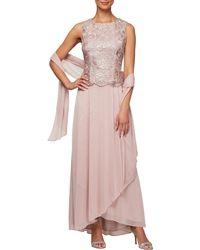 b73138f1f10b9 Alex Evenings - Embroidered Lace Mock 2-piece Dress - Lyst