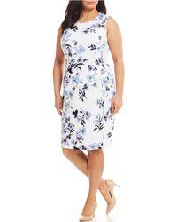 81d52eada3 Calvin Klein - Plus Size Floral Scuba Sleeveless Sheath Dress - Lyst