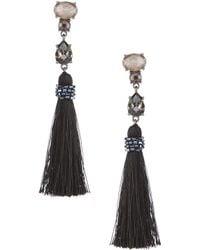 Belle By Badgley Mischka - Multi Stone Tassel Drop Statement Earrings - Lyst