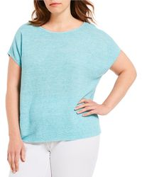 Eileen Fisher - Plus Size Bateau Neck Short Sleeve Poncho Top - Lyst