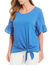 Ruby Rd. - Plus Size Scoop Neck Textured Stripe Ruffle Sleeve Double Knit Tie Front Top - Lyst