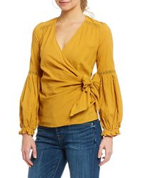 Skies Are Blue - Lace Trim Balloon Sleeve Wrap Blouse - Lyst
