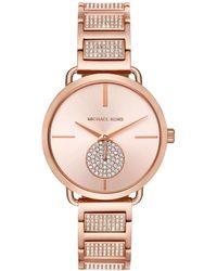 f8b1546b1044 Lyst - Michael Kors Camille Pav And Rose Gold-tone Watch in Metallic