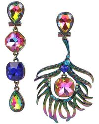 Betsey Johnson - Betsey Johnson Colorful Mismatched Peacock Earrings - Lyst