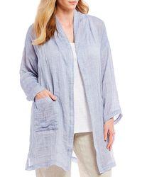 Eileen Fisher - Plus Size Long Sleeve Open Front Kimono Coat - Lyst