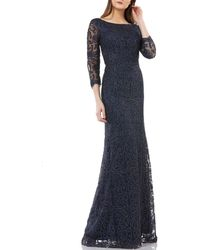 d4a4230b JS Collections - Illusion Sleeve Metallic Soutache Gown - Lyst