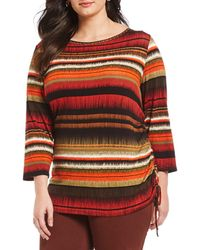 Ruby Rd. - Plus Size Embellished Neck Static Ikat Stripe Print Side Ruching Top - Lyst